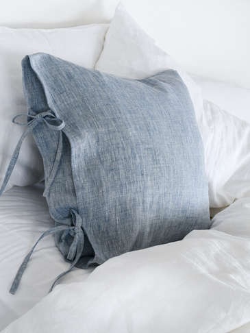 Blue Melange Linen Tie Cushion