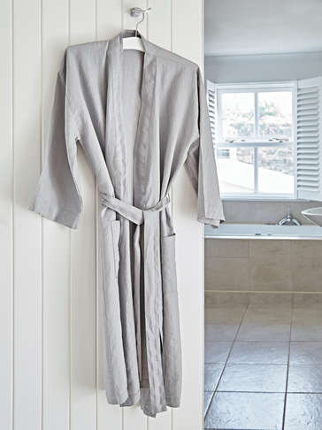 Washed Linen Bathrobes - Grey
