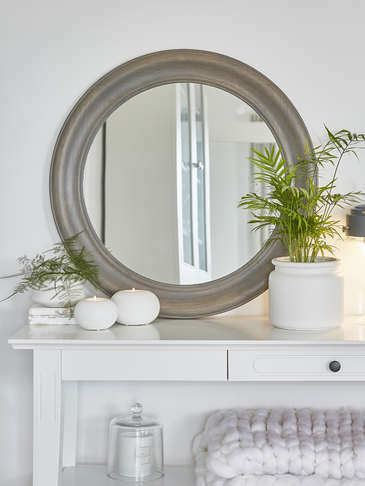 Grey Wooden Mirror - Round