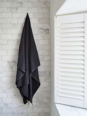 Pure Linen Hammam Towel - Graphite Grey