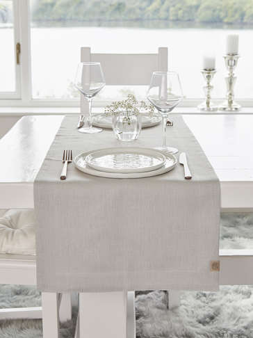 Double Linen Table Runner - Light Grey