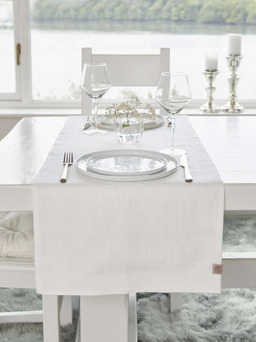 Double Linen Table Runner - Ivory