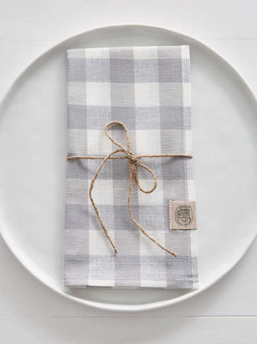 Linen Mix Napkins - Light Grey Check