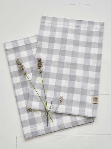 Linen Mix Placemats - Light Grey Check