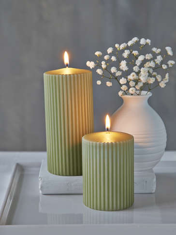 Rilled Pillar Candles - Leaf Green
