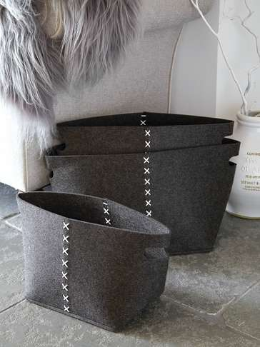 Slate Grey Felt Basket Set