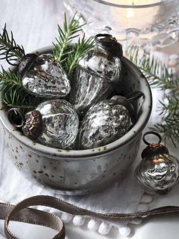 Vintage Mini Bauble Set - Silver