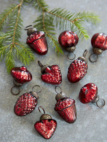 Vintage Mini Bauble Set - Red