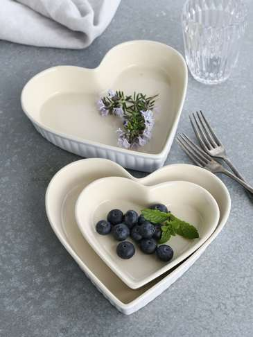 Heart Dish Set - White