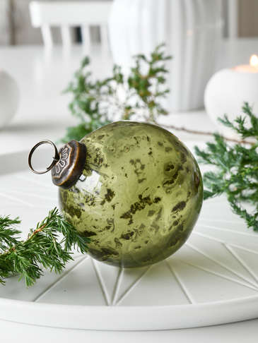 Vintage Olive Green Glass Bauble
