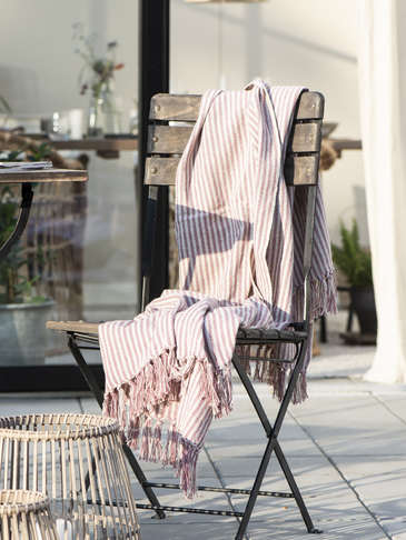 Striped Throw - Cream & Pink