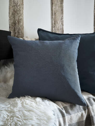 Stonewash Blue Linen Cushion