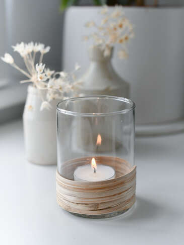 Rattan Wrap Tealight Holder Set