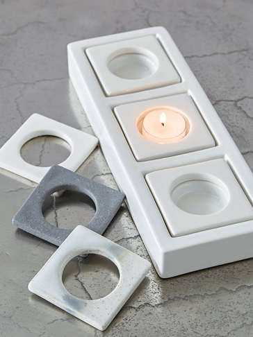 Triple Ceramic Tealight Holder - White