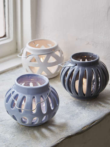 Ceramic Tealight Hurricane Set