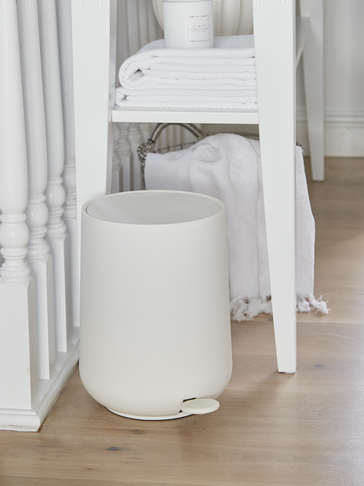 Soft Closing White Pedal Bin