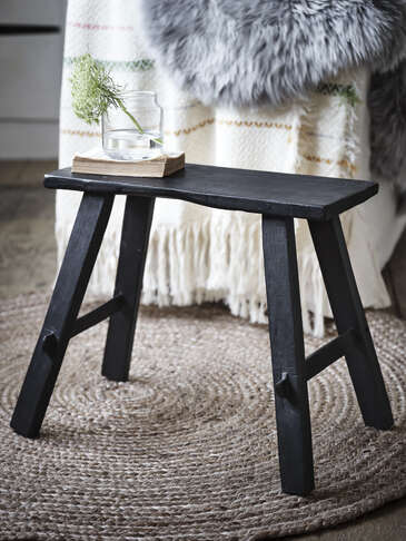 Reclaimed Wood Milking Stool - Black