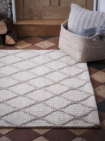 Large Ivory and Natural Chevron Rug