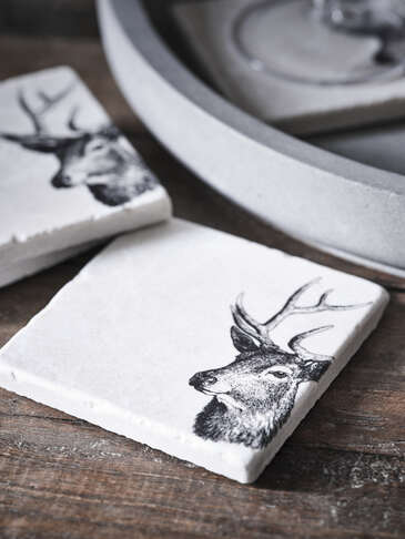 Natural Stone Coasters - Stag