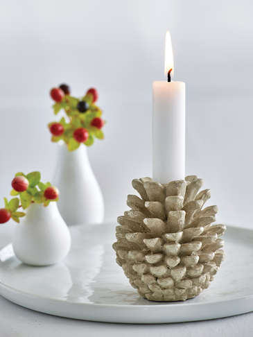 Antique Gold Pine Cone Candlestick