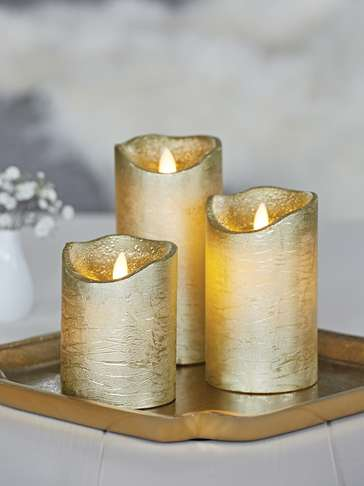Gold LED Pillar Candles