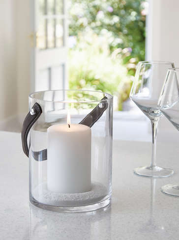 Glass & Leather Candle Hurricane