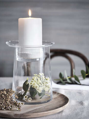 Glass Pillar Candle Holder