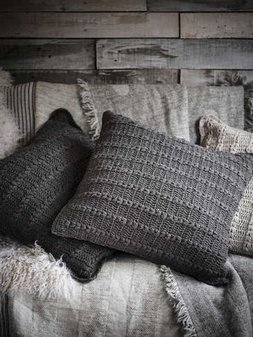 Crochet Cushion - Graphite