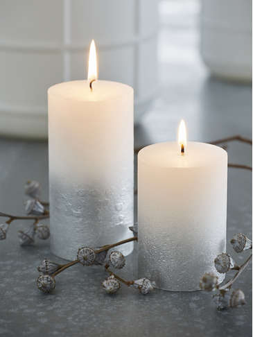 Silver Ombre Pillar Candles