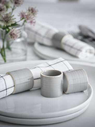 Sanne Grey Ceramic Napkin Rings
