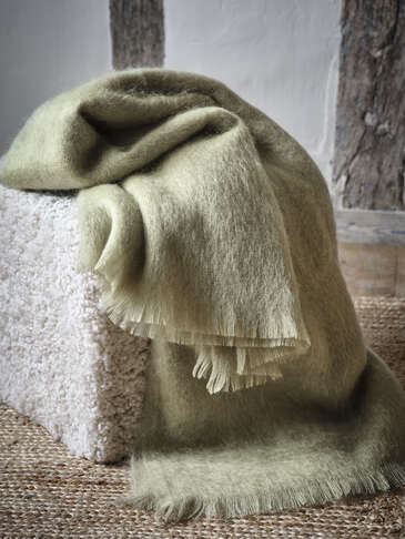 Supersoft Sage Green Mohair Throw