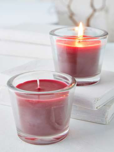 Burgundy Glass Candle Votive