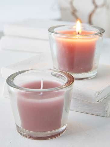 Powder Rose Glass Candle Votive