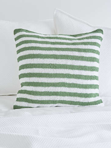 Knitted Green Cushion - Narrow Stripe