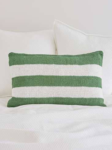 Knitted Green Cushion - Broad Stripe